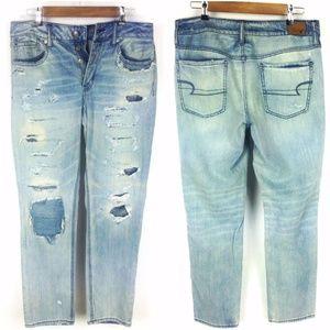 American Eagle Destructed Tomgirl Jeans Sz 8